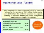 impairment of value goodwill