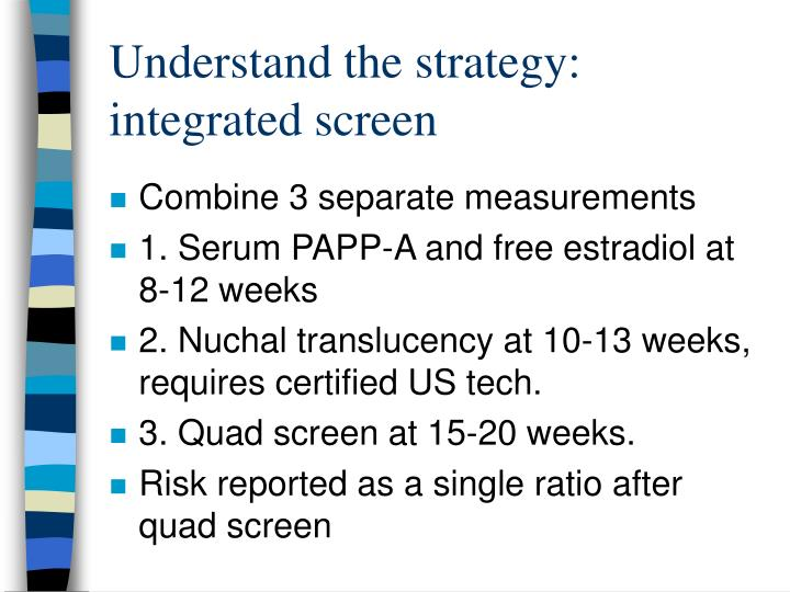 Understand the strategy: integrated screen