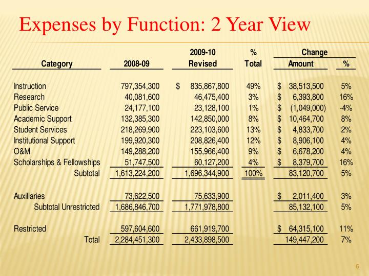 Expenses by Function: 2 Year View