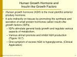 human growth hormone and insulin like growth factors