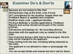 examiner do s don ts