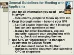general guidelines for meeting with applicants1