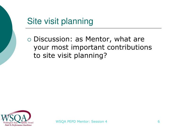Site visit planning