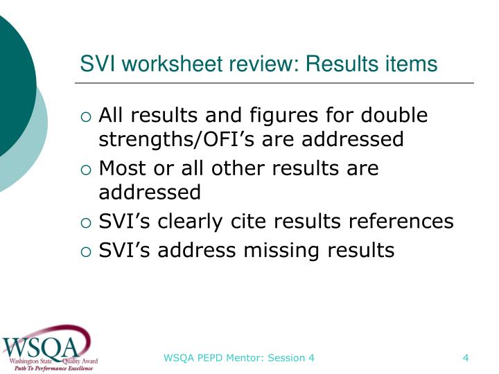SVI worksheet review: Results items