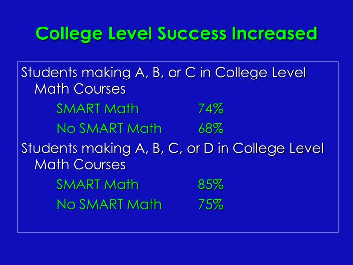 College Level Success Increased