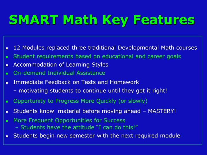 Smart math key features