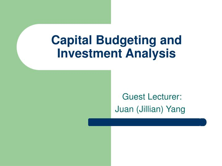 capital budgeting and investment analysis n.