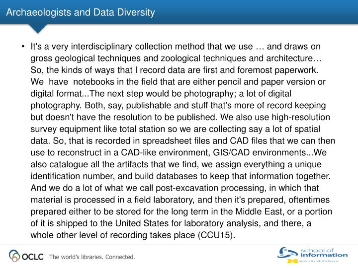 Archaeologists and Data Diversity