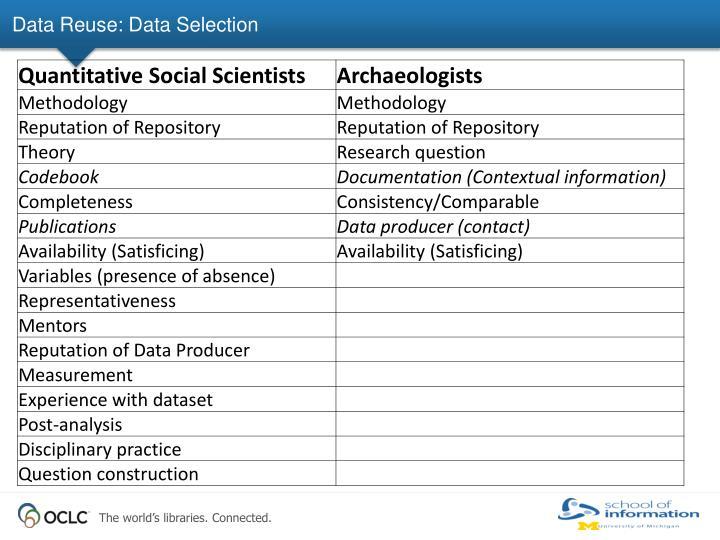 Data Reuse: Data Selection