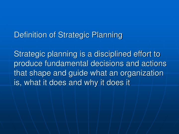 Definition of Strategic Planning