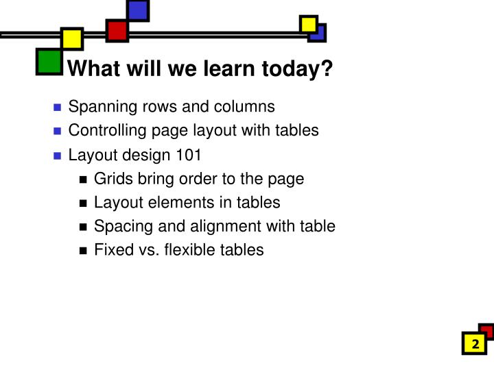 What will we learn today