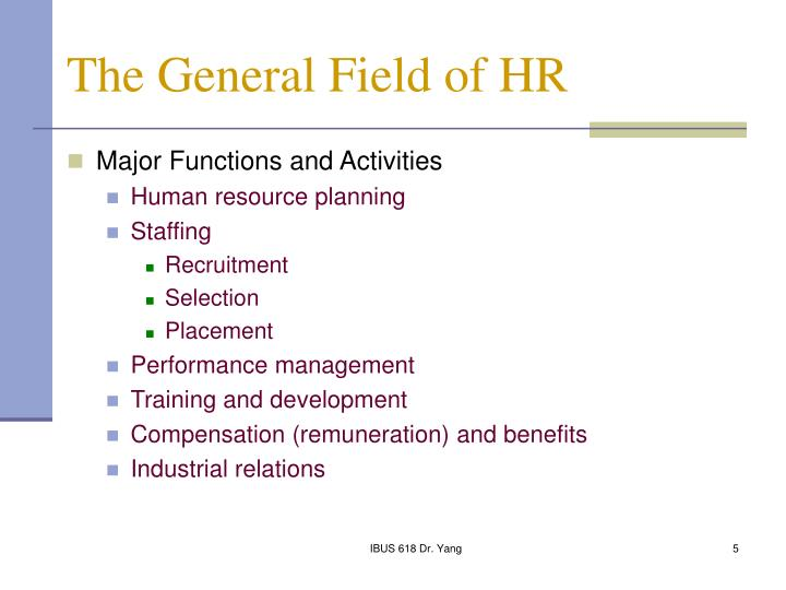 The General Field of HR
