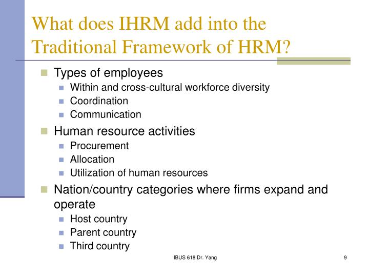 What does IHRM add into the Traditional Framework of HRM?