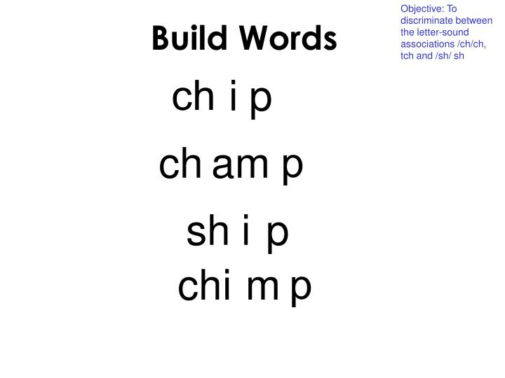 Objective: To discriminate between the letter-sound associations /ch/ch, tch and /sh/ sh