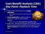 cost benefit analysis cba key point payback time