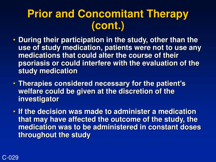 Prior and concomitant therapy cont