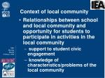 context of local community