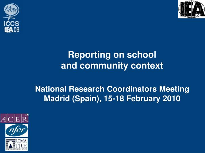 reporting on school and community context n.