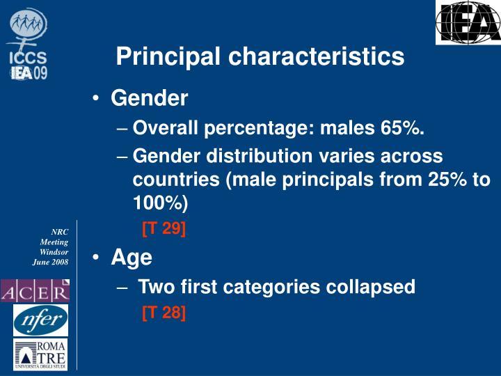 Principal characteristics