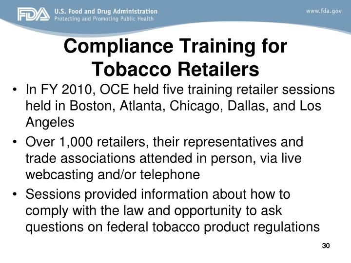 Compliance Training for Tobacco Retailers