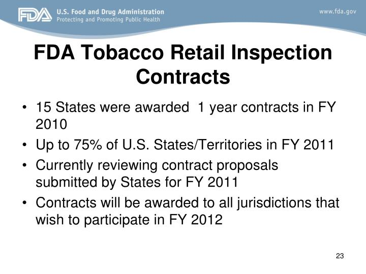 FDA Tobacco Retail Inspection Contracts