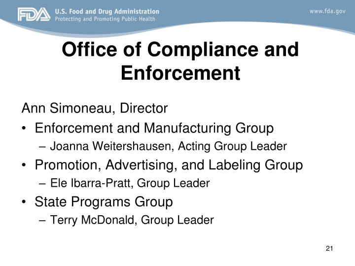 Office of Compliance and Enforcement