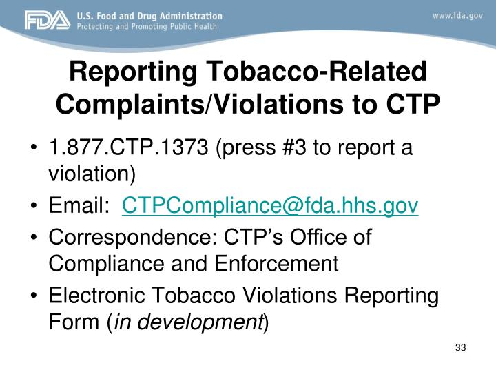 Reporting Tobacco-Related Complaints/Violations to CTP