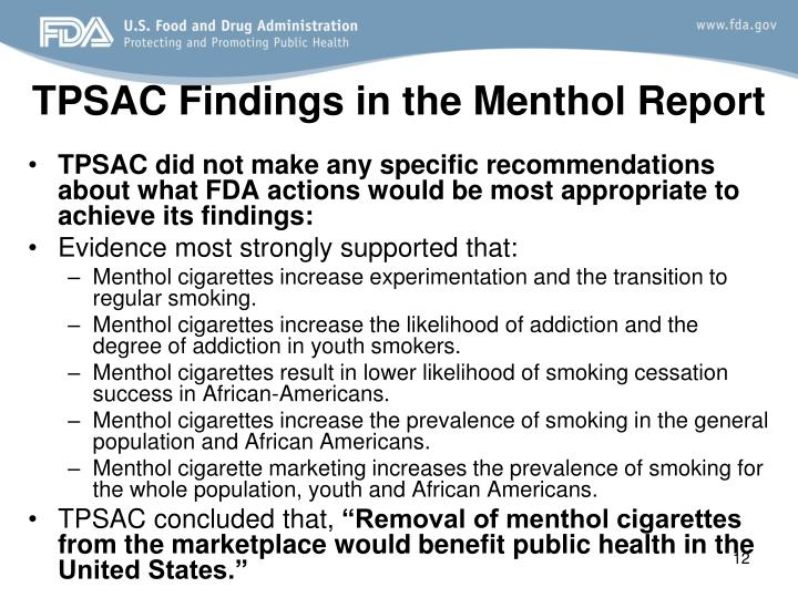 TPSAC Findings in the Menthol Report