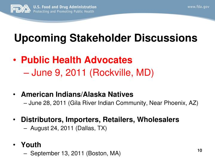 Upcoming Stakeholder Discussions