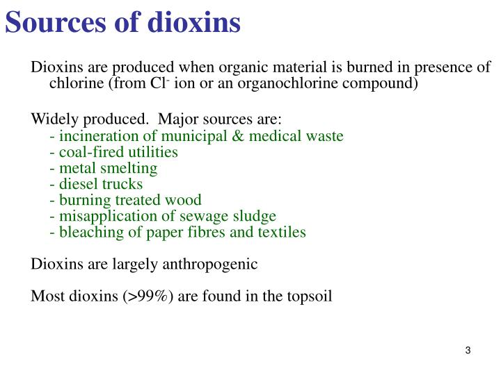 Sources of dioxins
