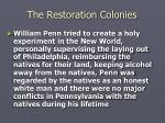 the restoration colonies21