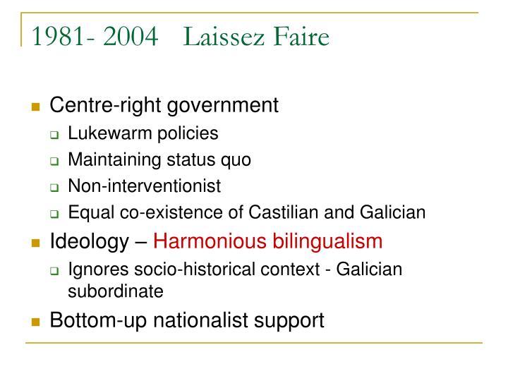 1981- 2004Laissez Faire
