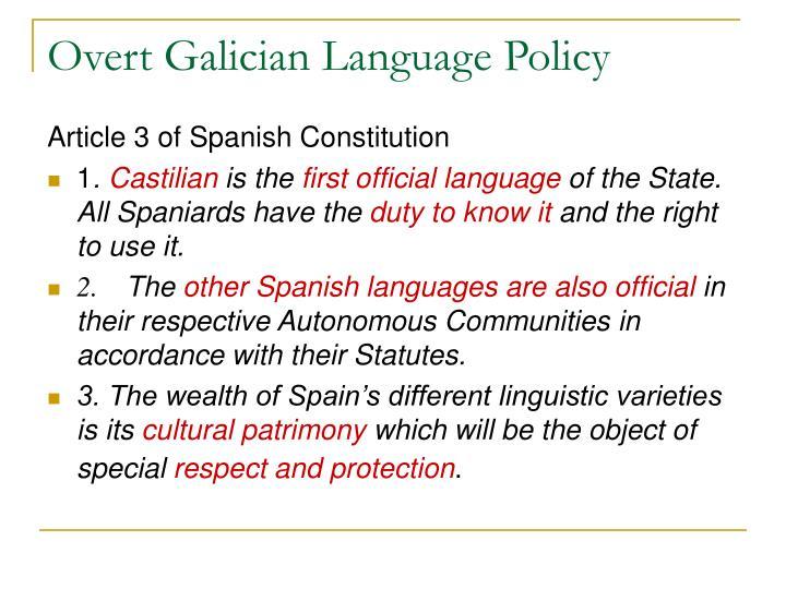 Overt Galician Language Policy