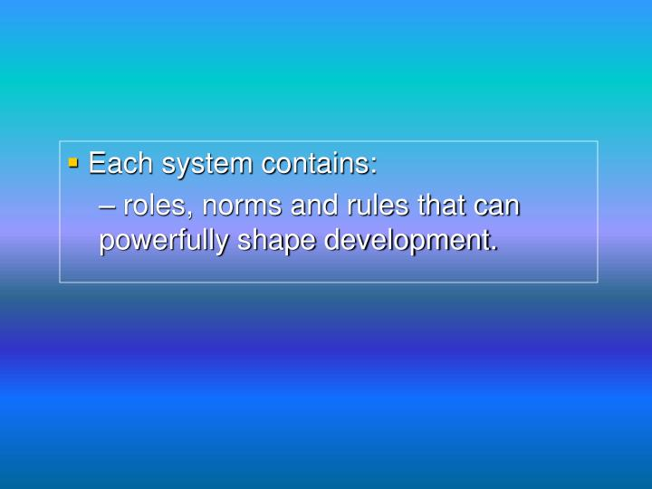 Each system contains: