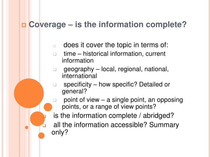 Coverage – is the information complete?