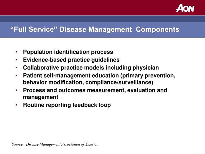 Full service disease management components