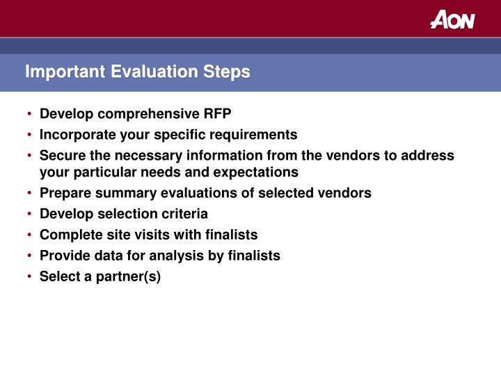 Important Evaluation Steps