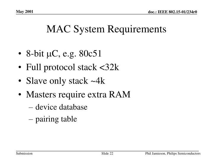 MAC System Requirements
