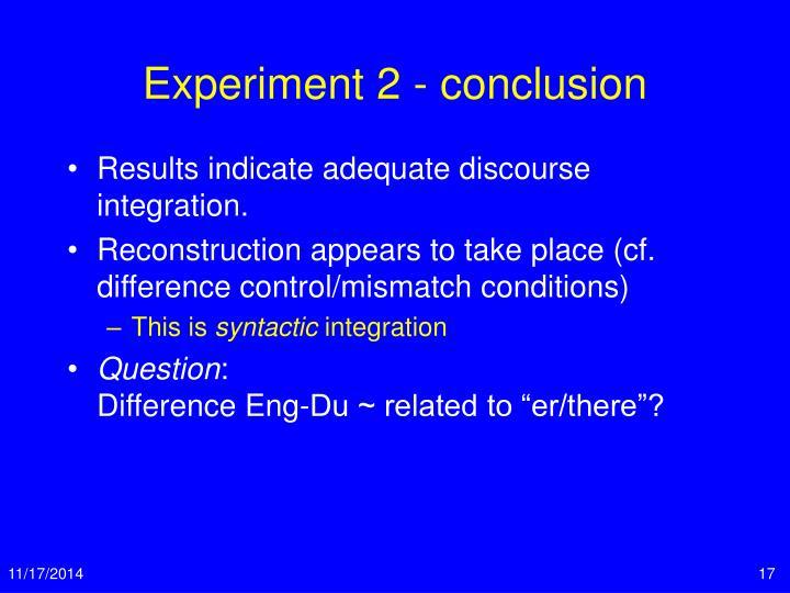 Experiment 2 - conclusion