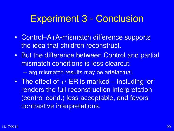 Experiment 3 - Conclusion