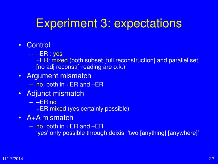 Experiment 3: expectations