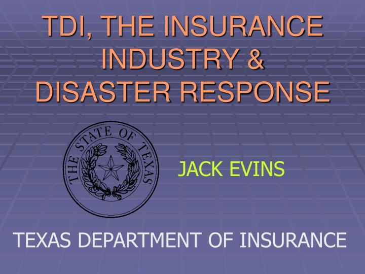 tdi the insurance industry disaster response n.