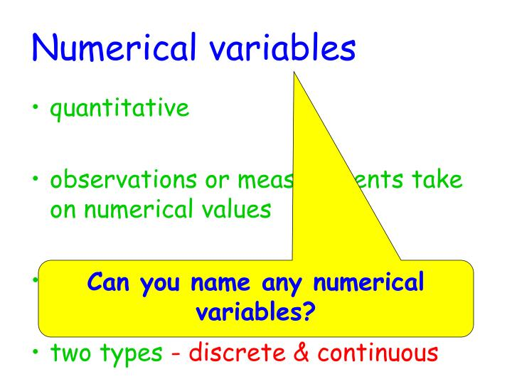 Numerical variables