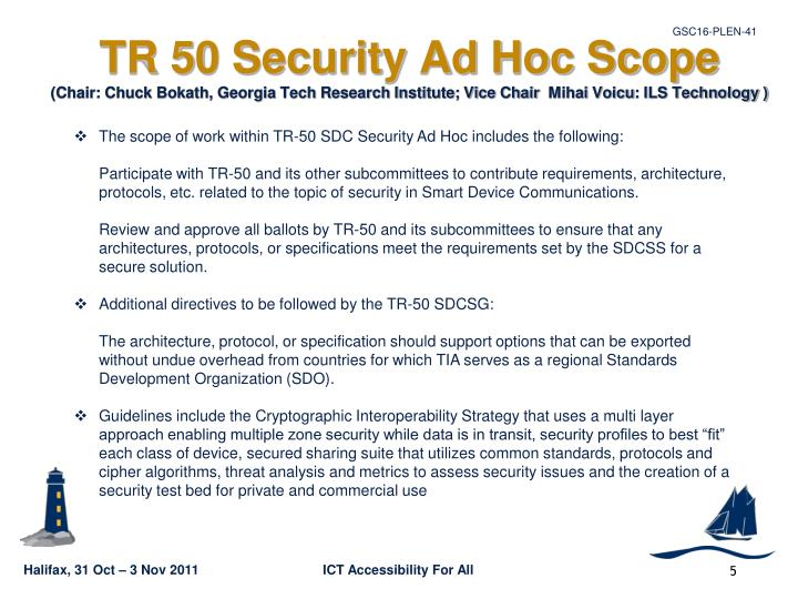 TR 50 Security Ad Hoc Scope