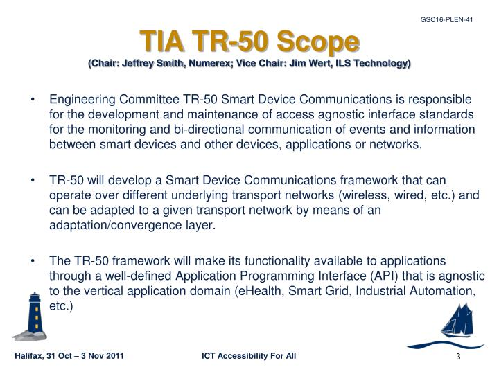 Tia tr 50 scope chair jeffrey smith numerex vice chair jim wert ils technology