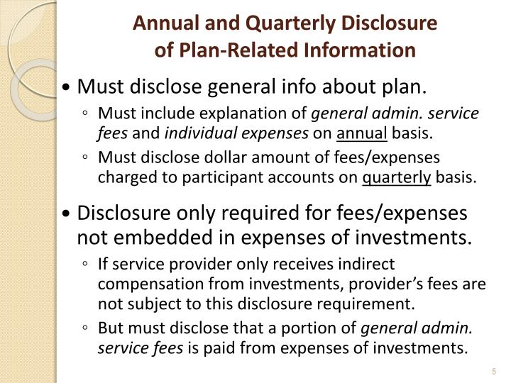 Annual and Quarterly Disclosure