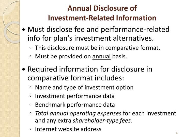 Annual Disclosure of
