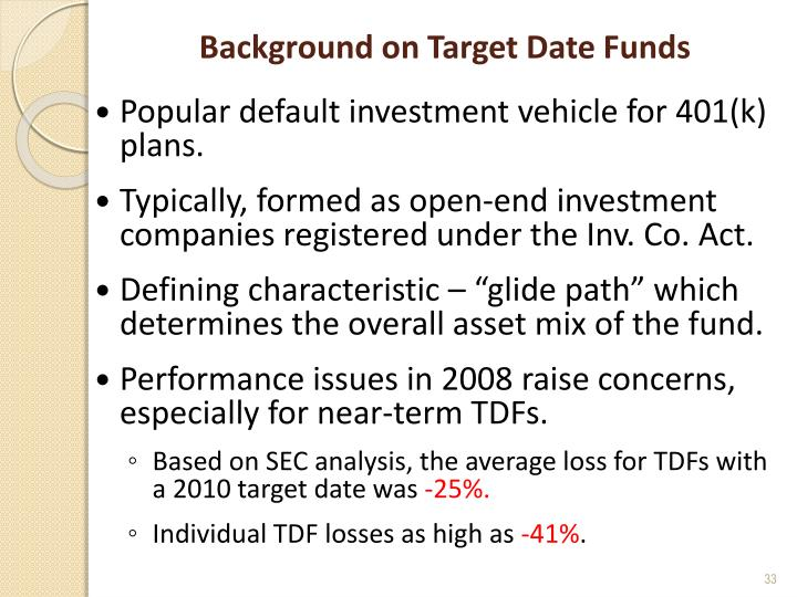 Background on Target Date Funds