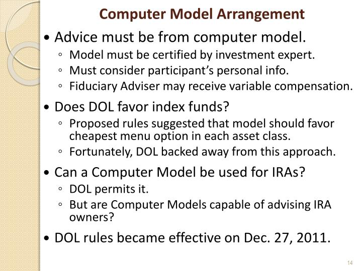 Computer Model Arrangement