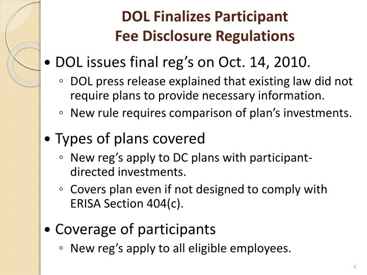 DOL Finalizes Participant